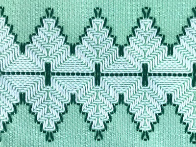 Royalty-Free and Rights-Managed Images - Vintage Textile Yarn Couching Technique With Graphic Pulse Pattern in White and Retro 1950s Era Aquamarine and Brunswick Greens  by Julien