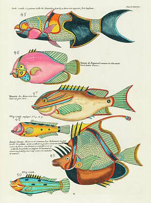 Surrealism Digital Art - Vintage, Whimsical Fish and Marine Life Illustration by Louis Renard - Saal Visch, Joosje-Joosje by Louis Renard