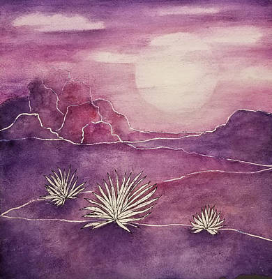 Mixed Media - Violet Moon by Terry Ann Morris