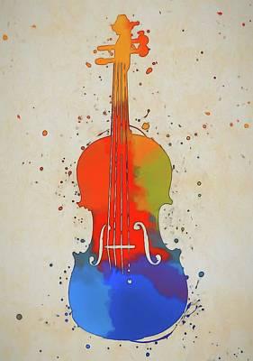 Music Paintings - Violin Color Splash by Dan Sproul