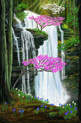 Curated Beach Towels - Virgin Falls in Springtime  by Gary F Richards