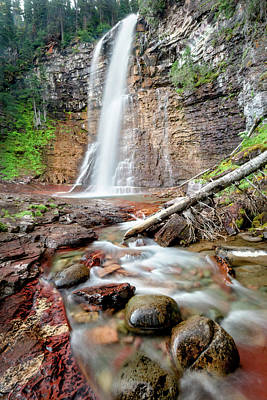 World War 2 Action Photography Royalty Free Images - Virginia Falls at Glacier National Park Royalty-Free Image by Jack Bell