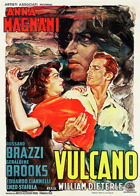 Mixed Media Royalty Free Images - Volcano, with Anna Magnani and Rossano Brazzi,1950 Royalty-Free Image by Stars on Art
