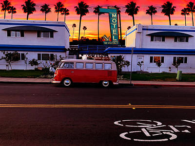 The Playroom Royalty Free Images - Volkswagen Bus Motel Sunset Royalty-Free Image by Larry Butterworth