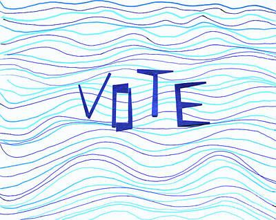 Thomas Kinkade Royalty Free Images - VOTE Waves Royalty-Free Image by Karen Adams