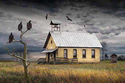 Classical Masterpiece Still Life Paintings - Vultures Circuling over an Abandoned One Room School House by Randall Nyhof