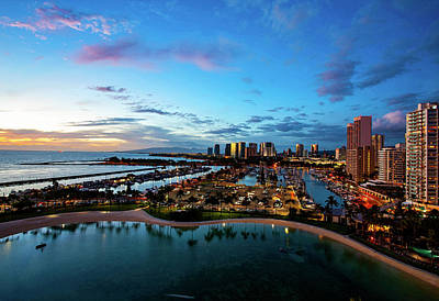 A White Christmas Cityscape - Waikiki Marina Twilight - Paintography by Anthony Jones