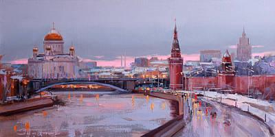 Amy Hamilton Animal Collage - Waiting for Christmas. Kremlin Embankment by Alexey Shalaev