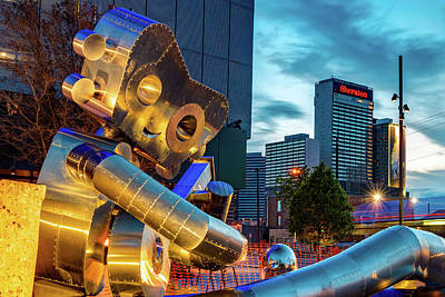 Royalty-Free and Rights-Managed Images - Waiting on a Train Traveling Man - Dallas Skyline at Dusk by Gregory Ballos