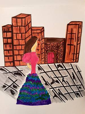Drawings Royalty Free Images - Walk In The City Royalty-Free Image by Tina Marie Gill