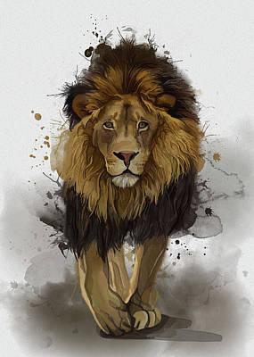 Animals Digital Art - Walking Lion Vintage by Bekim M