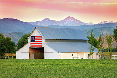 Royalty-Free and Rights-Managed Images - Wallsburg Barn with an American Flag by Johnny Adolphson