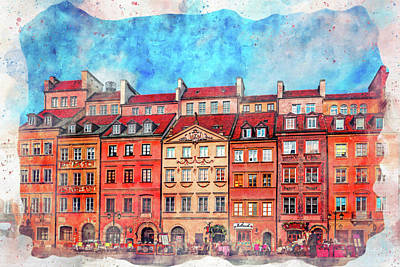 Royalty-Free and Rights-Managed Images - Warsaw Old Town Market Square Vibrant Watercolor by Carol Japp