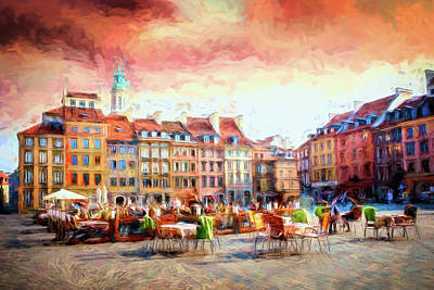Revolutionary War Art - Warsaw Poland Old Town Market Square Abstract Painterly  by Carol Japp
