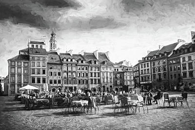 Have A Cupcake - Warsaw Poland Old Town Market Square Black and White  by Carol Japp