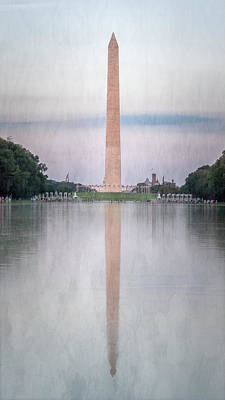 Stellar Interstellar - Washington Monument Washington DC Painterly by Joan Carroll