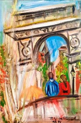 School Tote Bags Royalty Free Images - Washington Square  Royalty-Free Image by Toby Gotesman Schneier