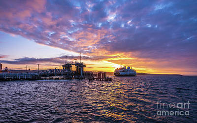 Abstract Animalia Royalty Free Images - Washington State Ferry Docking at Sunset Royalty-Free Image by Mike Reid