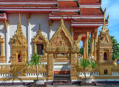 Photograph - Wat Klang Phra Ubosot Boundary Wall Gate and Shrines DTHNP0100 by Gerry Gantt