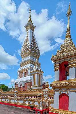 Photograph - Wat Phra That Phanom Phra Chedi and Bell Tower DTHNP0010 by Gerry Gantt