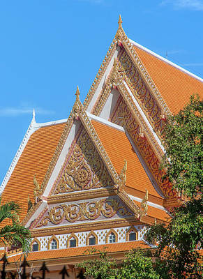 Photograph - Wat Samakkhi Sala Kan Prien or Preaching Hall Gables DTHNR0007 by Gerry Gantt