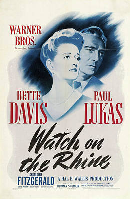 Mixed Media Royalty Free Images -  Watch on the Rhine, with Bette Davis and Paul Lukas, 1943. Royalty-Free Image by Stars on Art