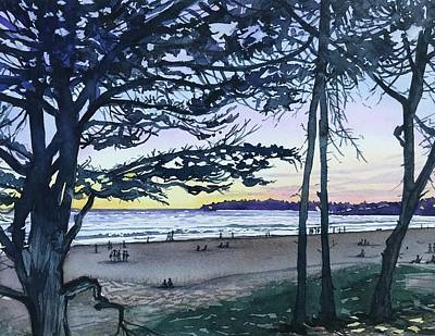 Palm Trees - Watching the Sunset - Carmel Beach by Luisa Millicent
