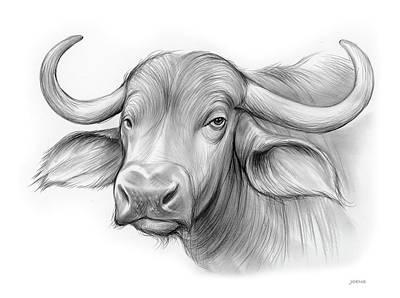 Drawings Royalty Free Images - Water Buffalo Royalty-Free Image by Greg Joens