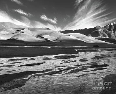 Winter Animals Royalty Free Images - Water flowing through The Great Sand Dunes National Park Royalty-Free Image by Doug Lemke
