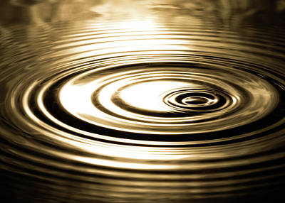 Photograph - Water Ripples Abstract in Gold by Amelia Pearn