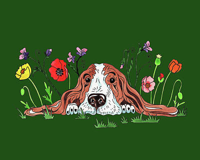 Royalty-Free and Rights-Managed Images - Watercolor Basset Puppy Dog In The Garden by Irina Sztukowski