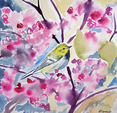 Animals Paintings - Watercolor - Black-throated Green Warbler with Redbud Flowers by Cascade Colors