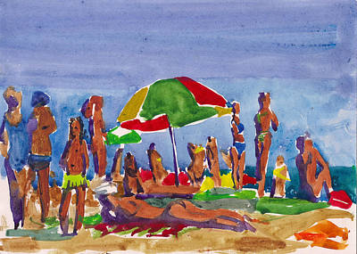 Royalty-Free and Rights-Managed Images - Watercolor drawing about summer vacation at the resort. Beach with sunburned people relaxing in swimsuits and inflatable lifebuoys, colorful umbrella and children playing  by Julien