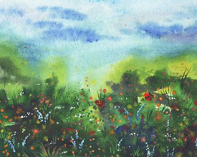 Coy Fish Michael Creese Paintings - Watercolor Field With Wildflowers Secret Path by Irina Sztukowski