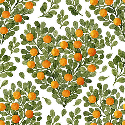 Royalty-Free and Rights-Managed Images - Watercolor green branches and oranges in heart shape. Watercolor seamless pattern. Botanical illustration. Cute green leaves and oranges heart. by Julien