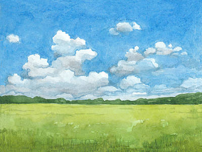 Royalty-Free and Rights-Managed Images - Watercolor illustration of rural landscape  by Julien