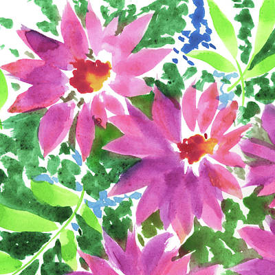 Royalty-Free and Rights-Managed Images - Watercolor Impressionistic Flowers Close Up by Irina Sztukowski