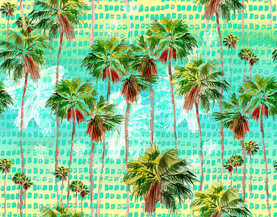 Royalty-Free and Rights-Managed Images - Watercolor Miami palms seamless background, tropical pattern by Julien