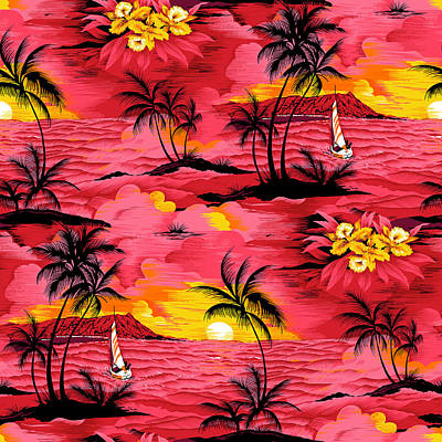 Royalty-Free and Rights-Managed Images - Watercolor palm silhouette and beach pattern by Julien