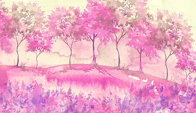 Royalty-Free and Rights-Managed Images - watercolor postcard with wild flowers, pink plants. Watercolor background. Blossoming meadow, field, countryside landscape. pink Tree. Summer, Spring landscape. Silhouettes of forest. Blooming garden by Julien