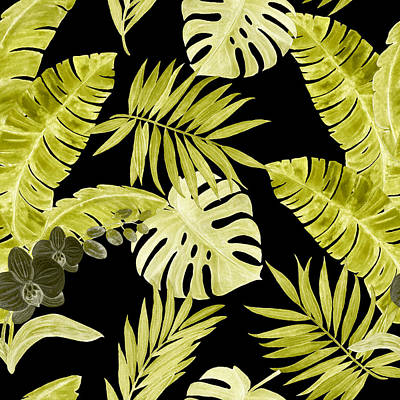 Royalty-Free and Rights-Managed Images - Watercolor seamless pattern with tropical leaves and orchid flowers. Hand painted by Julien