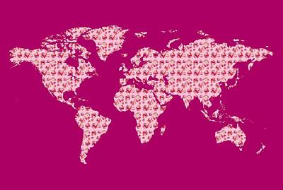 Royalty-Free and Rights-Managed Images - Watercolor Silhouette World Map Colorful PNG XXX Pink by Irina Sztukowski