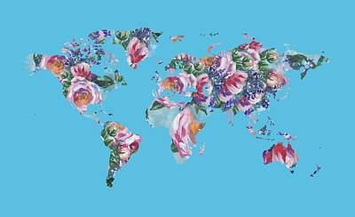 Royalty-Free and Rights-Managed Images - Watercolor Silhouette World Map Colorful PNG XXXIII by Irina Sztukowski