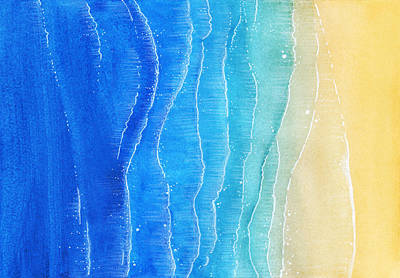 Royalty-Free and Rights-Managed Images - Watercolor Texture With Blue Sea And Sand Beach. View From Above Illustration by Julien