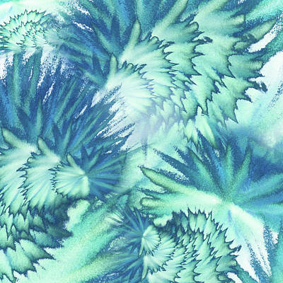 Royalty-Free and Rights-Managed Images - Watercolor Vortex Of Teal Blue Feathers by Irina Sztukowski