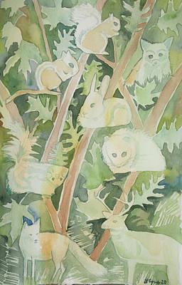 Pop Art - Watercolor - Woodland Critter Design by Cascade Colors