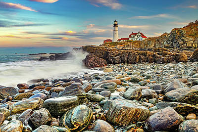 Christmas Christopher And Amanda Elwell - Waves Crashing on The Rocky Shores of Portland Head Light  by Gregory Ballos