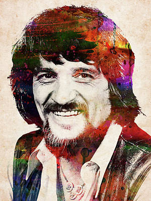 Rolling Stone Magazine Covers - Waylon Jennings colorful watercolor portrait by Mihaela Pater
