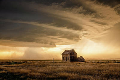 Abstract Oil Paintings Color Pattern And Texture - Weather the Storm - Thunderstorm Approaches Abandoned House in Colorado by Southern Plains Photography