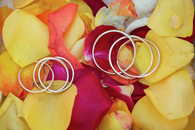 David Bowie - Wedding Rings On A Rose Petals by Michael Dechev